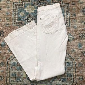 7FAM Dojo White Denim Jeans Flare Legs 29